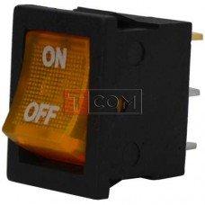 Переключатель с подсветкой MIRS-101-2 ON-OFF TCOM, 3pin, 6A, 220V, жёлтый