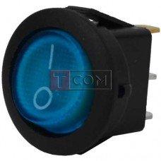 Переключатель круглый с подсветкой MIRS-101-8C ON-OFF TCOM, 3pin, 6.5A, 220V, синий