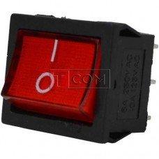Переключатель широкий с подсветкой MIRS-202-4 ON-ON TCOM, 6pin, 6A, 220V, красный
