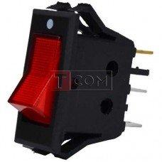 Переключатель с подсветкой KCD-3, ON-OFF TCOM, 3pin, 15A, 220V, красный