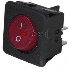 Перекл. с подсв., квадр.с круглой клавишей RK1-05, ON-OFF, 4pin, красный