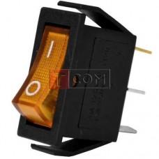 Переключатель узкий с подсветкой IRS-101-1С ON-OFF, 3pin, 15A, 220V, желтый