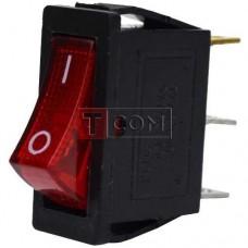 Переключатель узкий с подсветкой KCD-3, ON-OFF TCOM, 3pin, 16A, 220V, красный