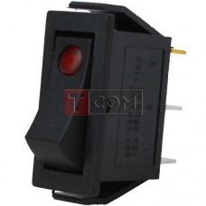 Переключатель узкий с подсветкой IRS-101E-1C ON-OFF TCOM, 3pin, 15A, 220V, красный