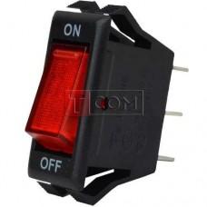 Переключатель узкий с подсветкой IRS-1-7A ON-OFF TCOM, 3pin, 10A, 220V, красный