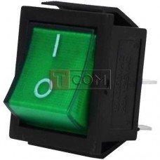 Переключатель широкий с подсветкой IRS-201-1С (ON-OFF) TCOM, 4pin, 15A, 220V, зелёный