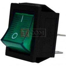 Переключатель широкий с подсветкой KCD-4, ON-OFF TCOM, 4pin, 15A, 220V, зелёный