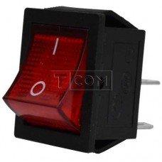 Переключатель широкий с подсветкой KCD-4, ON-OFF TCOM, 4pin, 15A, 220V, красный