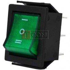 Переключатель широкий с подсветкой IRS-203-1C ON-OFF-ON TCOM, 6pin, 15A, 220V, зелёный
