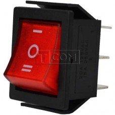 Переключатель широкий с подсветкой IRS-203-1C ON-OFF-ON TCOM, 6pin, 15A, 220V, красный