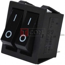 Переключатель двойной без подсветки IRS-2101-1А ON-OFF TCOM, 4pin, 15A, 220V, чёрный