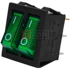 Переключатель двойной с подсветкой IRS-2101-1А ON-OFF TCOM, 6pin, 15A, 220V, зелёный