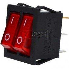 Переключатель двойной с подсветкой IRS-2101-1А ON-OFF TCOM, 6pin, 15A, 220V, красный