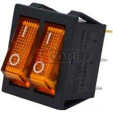 Переключатель двойной с подсветкой IRS-2101-1А ON-OFF TCOM, 6pin, 15A, 220V, жёлтый