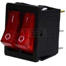 Переключатель двойной с подсветкой KCD4-011, ON-OFF TCOM, 6pin, 15A, 220V, красный