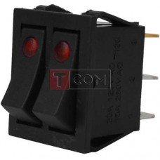 Переключатель двойной с подсветкой IRS-2101E-1C ON-OFF TCOM, 6pin, 15A, 220V, красный