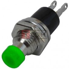 Кнопка малая PBS-10B-2 без фиксации ON-(OFF) TCOM, 2pin, 1А, 250V, зелёная
