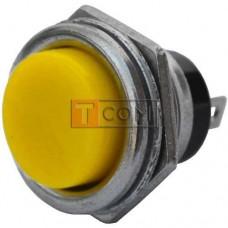 Кнопка большая PBS-26B без фиксации OFF-(ON) TCOM, 2pin, 2А, 250V, жёлтая