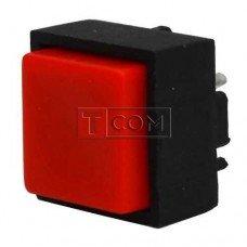 Кнопка квадратная PBS-18B без фиксации OFF-(ON) TCOM, 25mА 50V или DC, красная