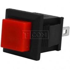 Кнопка квадратная PBS-15B без фиксации OFF-(ON) TCOM, 2pin, 1А, 250V, красная