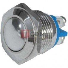 Кнопка антивандальная 16мм TCOM, без фиксации, 220V, выводы под винт