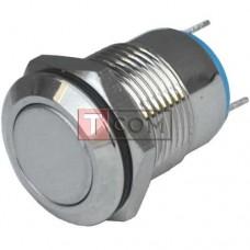 Кнопка антивандальная 12мм TCOM, без фиксации, 220V, выводы под пайку