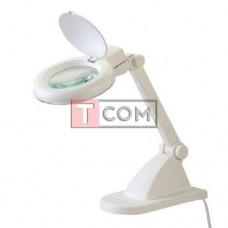 Лупа-лампа Zhongdi с LED подсветкой, настольная, круглая, 3X, 8X, 3W, Ø90мм, белая