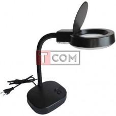 Лупа-лампа Zhongdi настольная, круглая, 3X, 8X, Ø90мм, чёрная