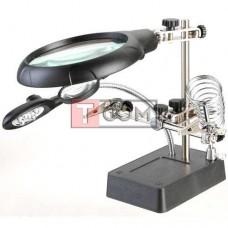 """Держатель """"Третья рука"""" c LED подсветкой Zhongdi, с зажимом и подставкой под паяльник, 3Х Ø90мм, 8Х Ø34мм"""