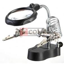 """Держатель """"Третья рука"""" с LED подсветкой Zhongdi, с зажимами и подставкой под паяльник, 4Х Ø65мм, 12Х Ø17мм"""