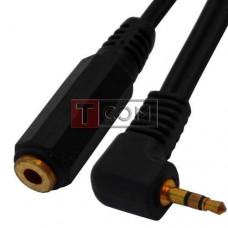 Переходник TCOM, штекер 2.5 стерео - гнездо 3.5 стерео, кабель 0.2м