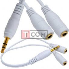 Шнур TCOM, штекер 3.5 стерео - 2 гнезда 3.5 стерео, белый, 0.2м