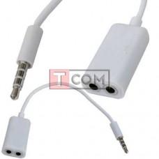 Переходник TCOM, штекер 3.5 4С - 2 гнезда 3.5 4С, кабель 0.2м, белый