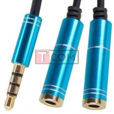 Переходник TCOM, штекер 3.5 4С - 2 гнезда 3.5 4С, металлический, с кабелем