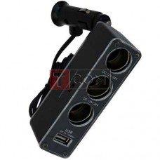 Разветвитель автоприкуривателя TCOM, штекер прикуривателя - 3 гнезда прикуривателя + гнездо USB c кабелем