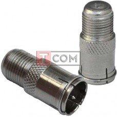 Переходник TCOM, штекер антенный F (с кольцом) - гнездо антенное F, корпус металлический