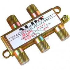 Сплиттер (Splitter) ТВ Alda, 4-way, корпус металлический