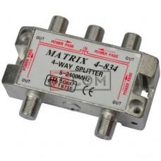 Сплиттер (Splitter) ТВ TCOM, 4-way 5-2400MHZ, с проходом питания, корпус металлический
