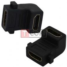 Переходник TCOM, гнездо HDMI - гнездо HDMI, gold, угловой