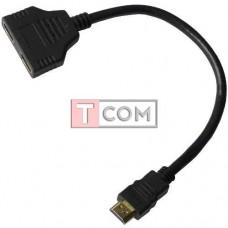 Переходник TCOM, штекер HDMI - 2 гнезда HDMI, шнур 0.2м