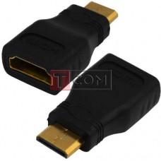 Переходник TCOM, штекер mini HDMI - гнездо HDMI, gold, корпус пластик
