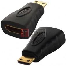 Переходник TCOM, штекер mini HDMI - гнездо HDMI, gold, пластик