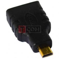 Переходник TCOM, штекер micro HDMI - гнездо HDMI, gold, корпус пластик
