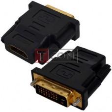 Переходник TCOM, штекер DVI-D(24+1) - гнездо HDMI, gold, пластик
