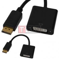 Переходник TCOM, штекер Display Port - гнездо DVI, кабель 0.2м