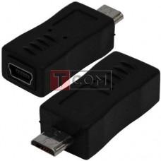Переходник TCOM, штекер micro USB - гнездо mini USB, пластик