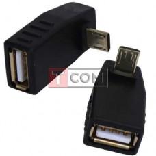 Переходник TCOM, гнездо USB A - штекер micro USB, угловой
