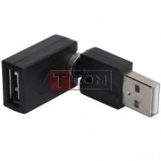 Переходник TCOM, штекер USB A- гнездо USB А, поворотный 360 градусов