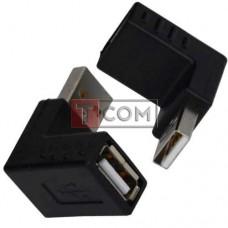 Переходник TCOM, штекер USB A - гнездо USB A, угловой