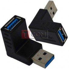 Переходник TCOM, штекер USB A - гнездо USB A, угловой, Vers.3.0